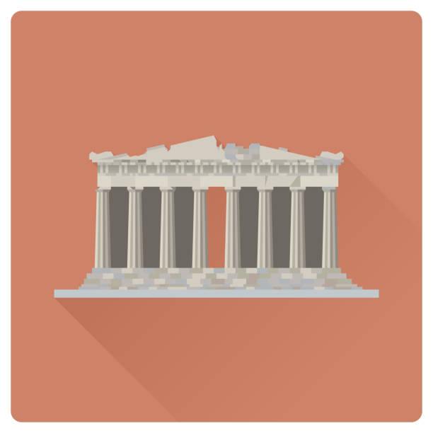 stockillustraties, clipart, cartoons en iconen met tempel van de parthenon op de akropolis citadel, athene (griekenland), platte ontwerp vectorillustratie - athens