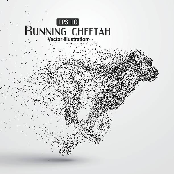 stockillustraties, clipart, cartoons en iconen met particle cheetah ,vector illustration,the moral of hard work ahead. - jachtluipaard