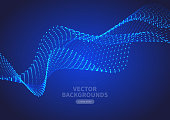 Particle curve background, blue hi-tech future abstract background