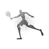 Particle dust tennis player silhouette with racket