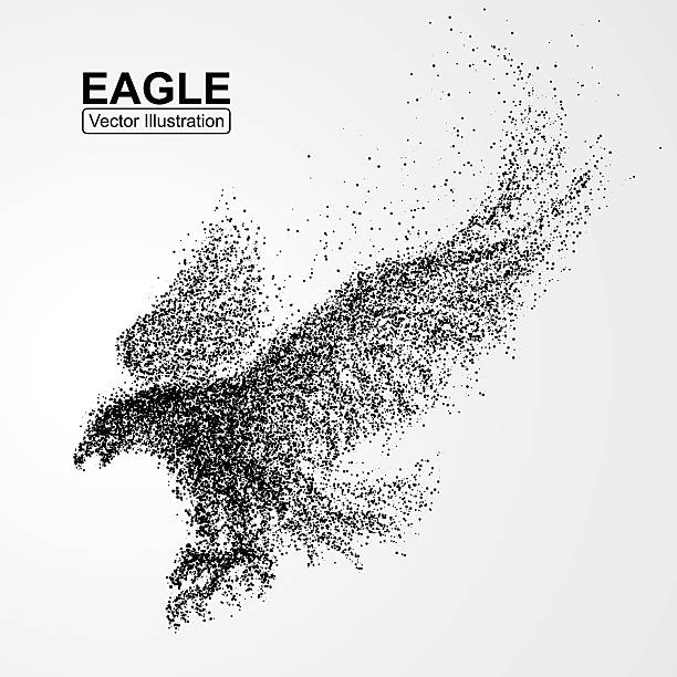 Particle Eagle, vector illustration composition Particle Eagle, vector illustration composition bird clipart stock illustrations