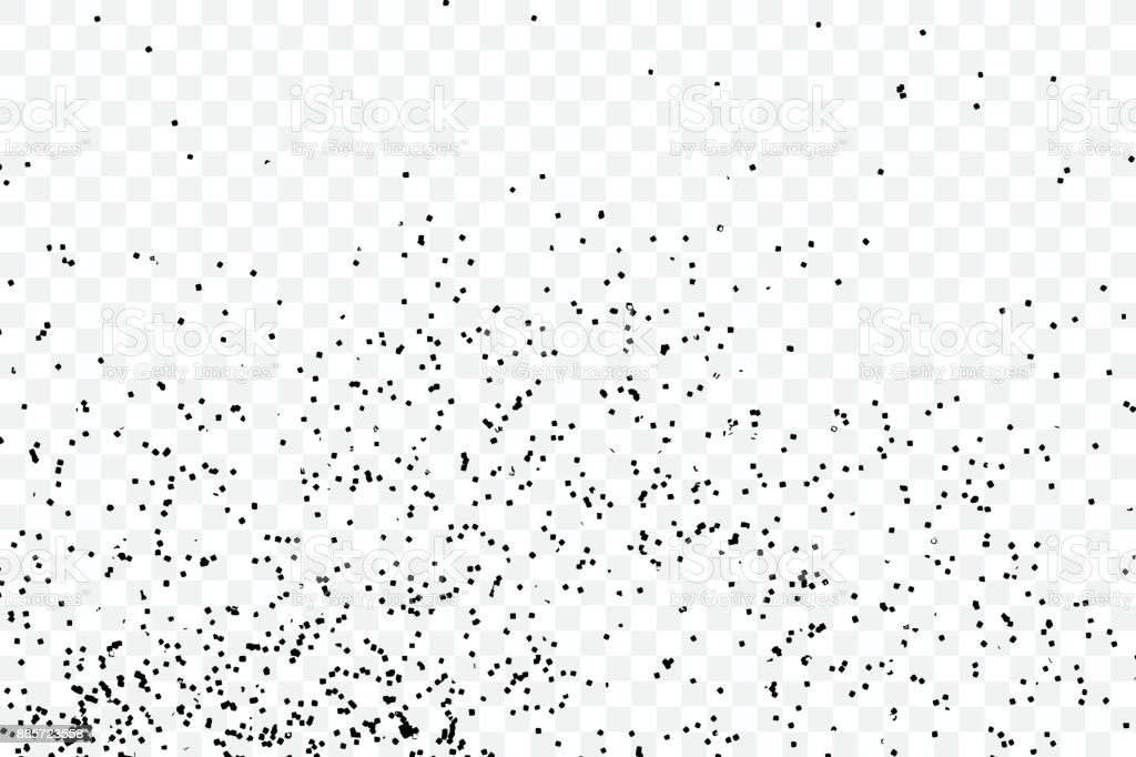 particle spray dust and dots random molecules black on transparent background explosion of