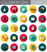 A party and celebration themed circular flat design style icon set with a long side shadow. File is cleanly built and easy to edit. Vector file is built in the CMYK color space for optimal printing.