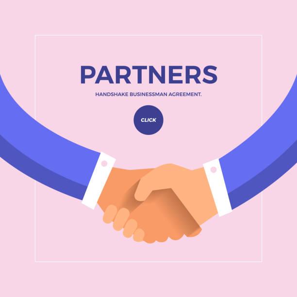 合作夥伴業務 - 握手 幅插畫檔、美工圖案、卡通及圖標