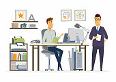 Partner Meeting - modern vector cartoon business characters illustration