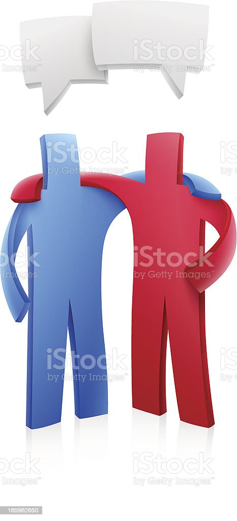 Partners with different traits communicating the same idea royalty-free stock vector art