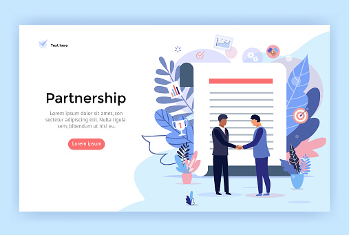 Partnership and agreement signing concept illustration.