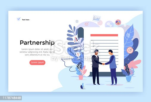 Partnership and agreement signing concept illustration, two business man shaking hands, perfect for web design, banner, mobile app, landing page, vector flat design