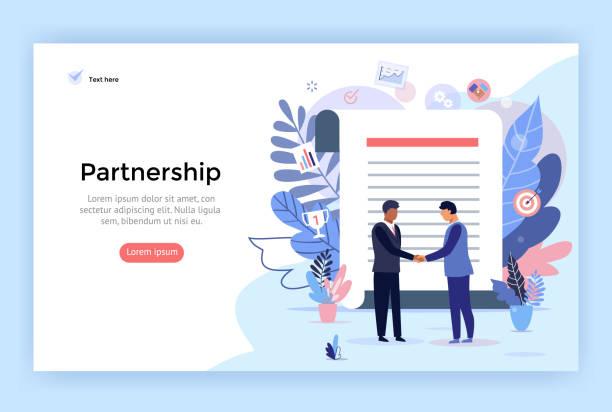 stockillustraties, clipart, cartoons en iconen met partnerschaps-en overeenkomst ondertekening concept illustratie. - partnership