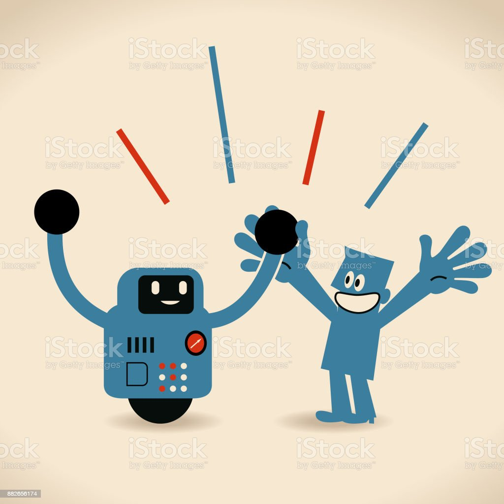 Partnership, Artificial intelligence to benefit people and society. Robot and human holding hands vector art illustration