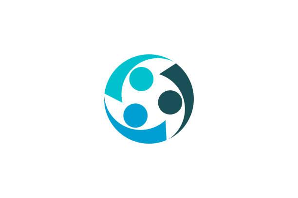 ilustrações de stock, clip art, desenhos animados e ícones de partnership between three creative people logo - future hug
