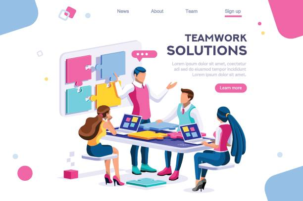 Partnership Collaboration Communication Teamwork images, together solutions, partnership collaboration and communication. Pieces of project concept. Can use for web banner, infographics, hero images. Flat isometric vector illustration. colleague stock illustrations