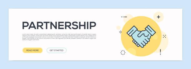 stockillustraties, clipart, cartoons en iconen met partnerschap concept - platte lijn webbanner - dubbelopname businessman
