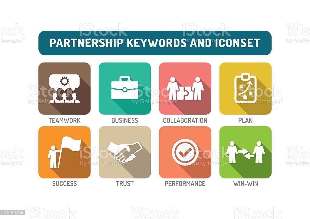 Partnership Flat Icon Set vector art illustration