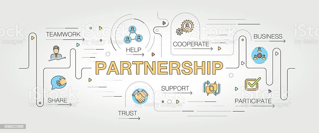Partnership keywords with icons - Illustration vectorielle