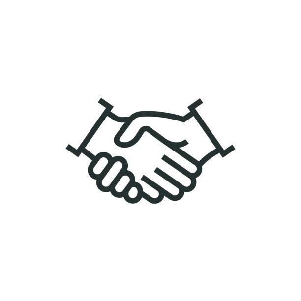 illustrations, cliparts, dessins animés et icônes de partenariat ligne icône - se saluer