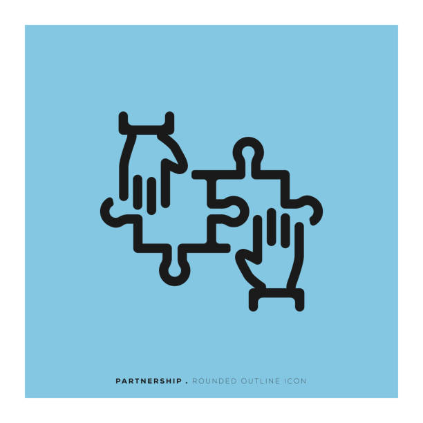 Partnership Rounded Line Icon Partnership Rounded Line Icon two people stock illustrations
