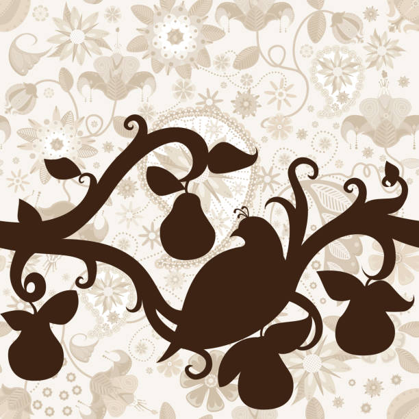 Partridge in a Pear Tree Silhouette Seamless Pattern vector art illustration