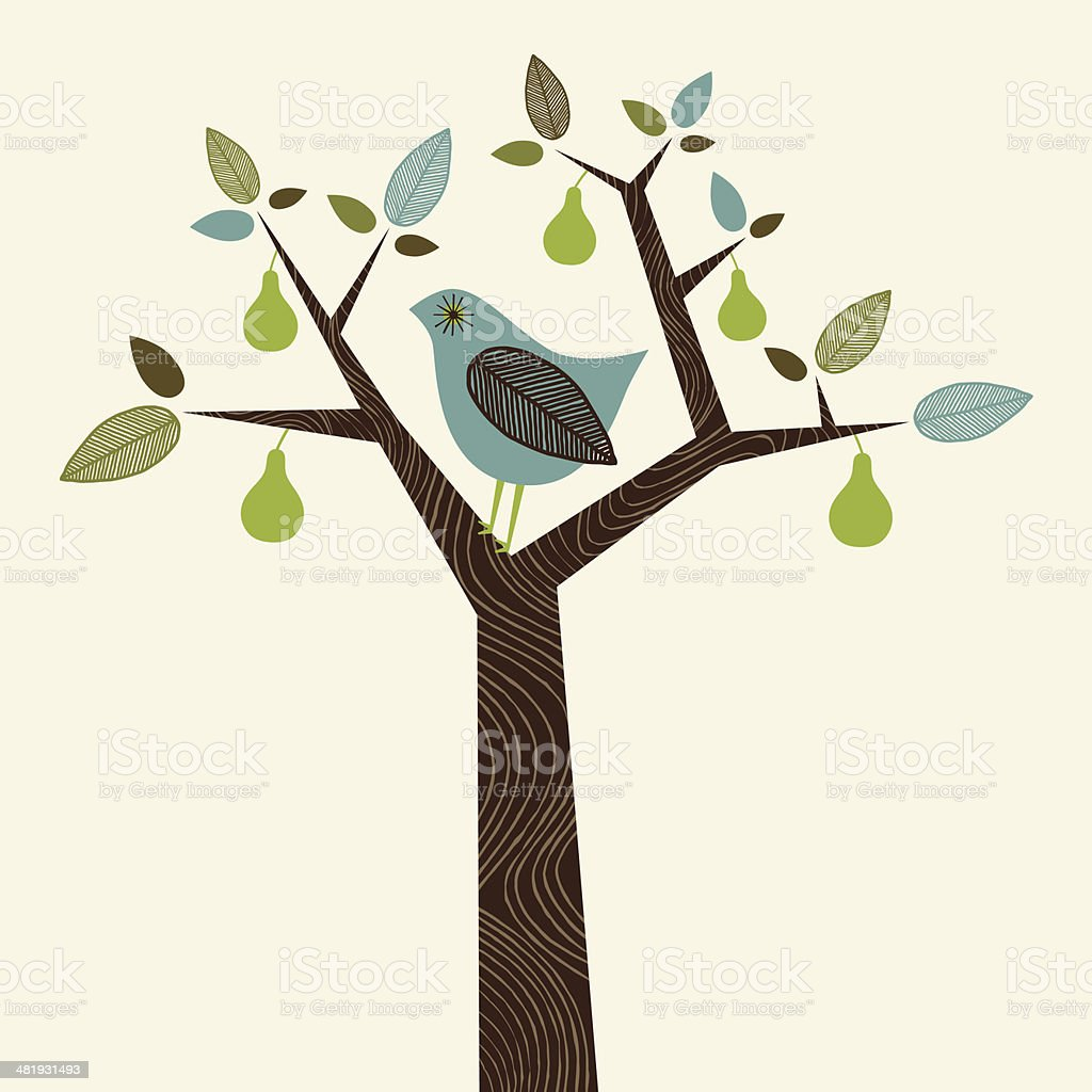 Partridge in a Pear Tree vector art illustration