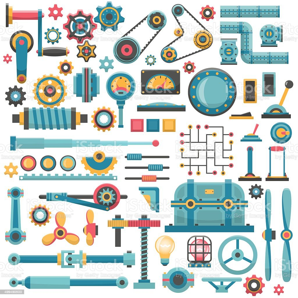 parts of machinery vector art illustration
