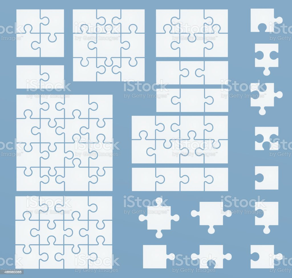Parts of puzzles on blue template. vector art illustration