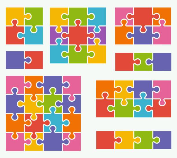 teile des puzzles auf weißem hintergrund mit bunten farben. - puzzle stock-grafiken, -clipart, -cartoons und -symbole