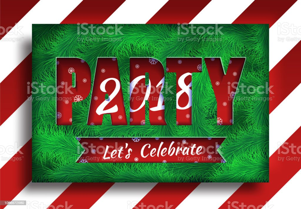 party 2018 celebrate greeting card new year 2018 vector background with pine twigs