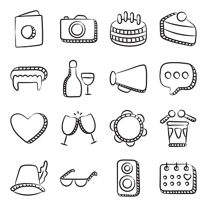 Party Accessories Hand Drawn Icons