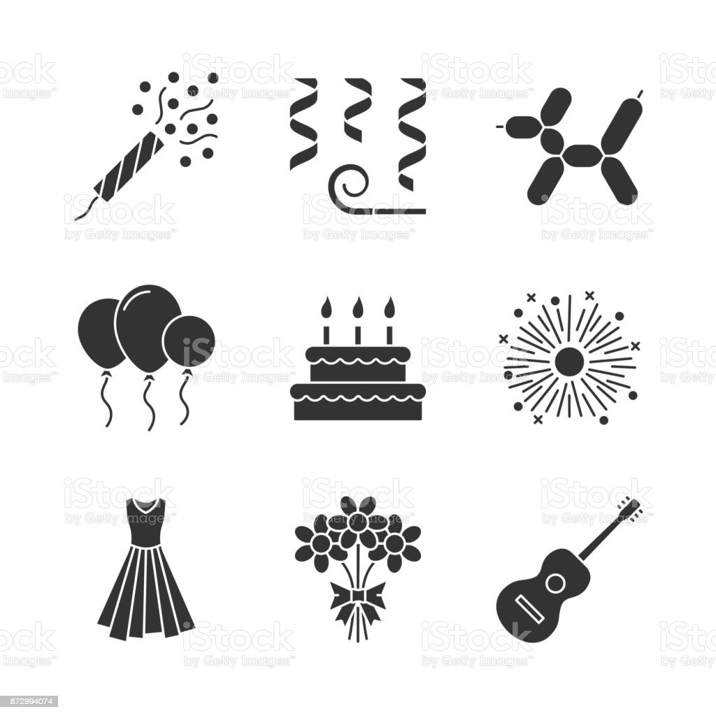 Party accessories icons vector art illustration