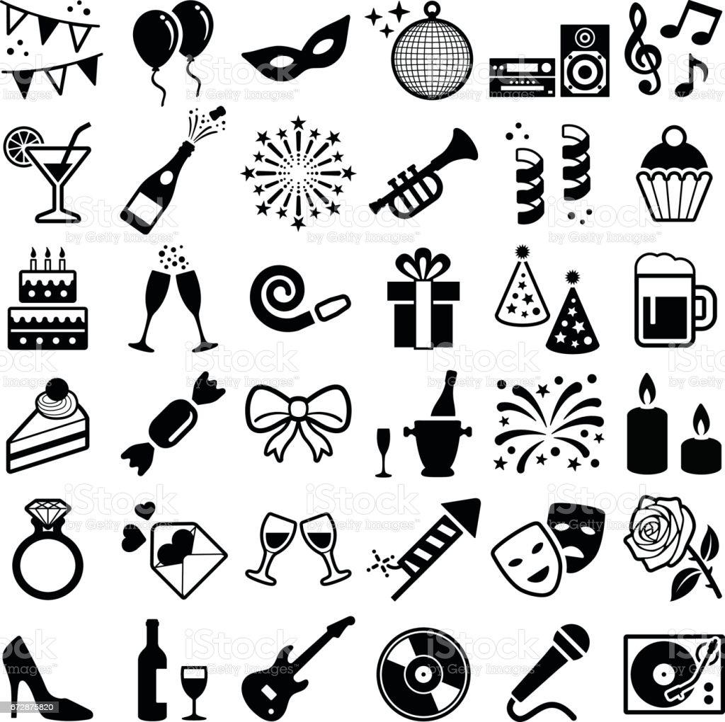 Icônes de parti et fête - Illustration vectorielle