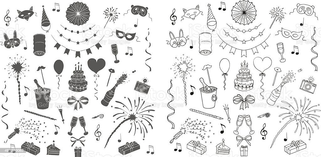 Party and celebration design elements. Doodle set. Isolated vector art illustration