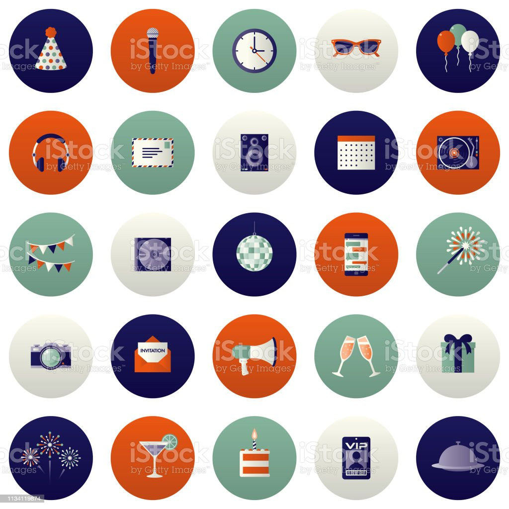 Party and Celebration Icon Set vector art illustration