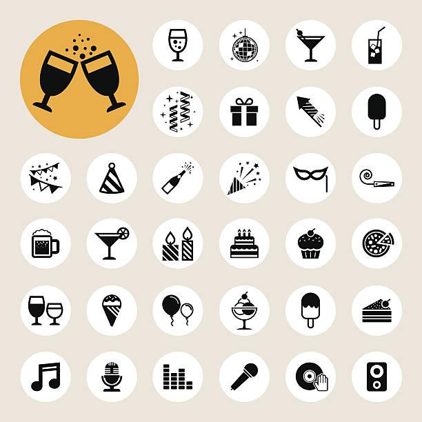 party and celebration icon set. - anniversary symbols stock illustrations