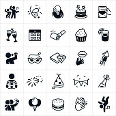 A set of party and celebration icons. The icons include people dancing, confetti, disc jockey, turn table, cake, invitation, champagne, toasting, calendar, party horn, cupcake, food, lemonade, karaoke, singing, party mask, pizza, fireworks, present, gifts, party hat, streamers, banners, selfie, balloons, hamburger and clapping to name a few.