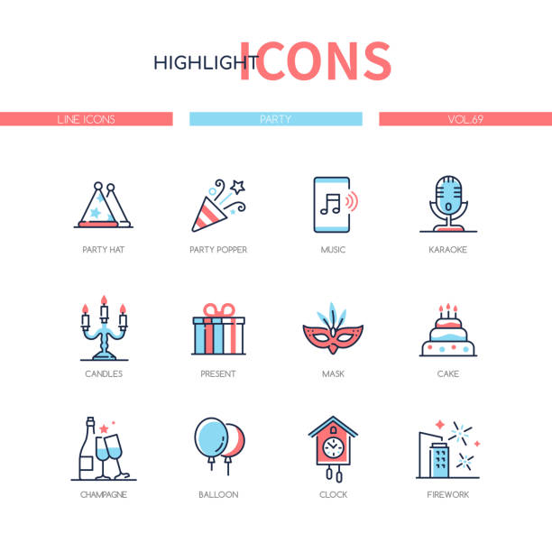 Party and celebration - line design style icons set vector art illustration