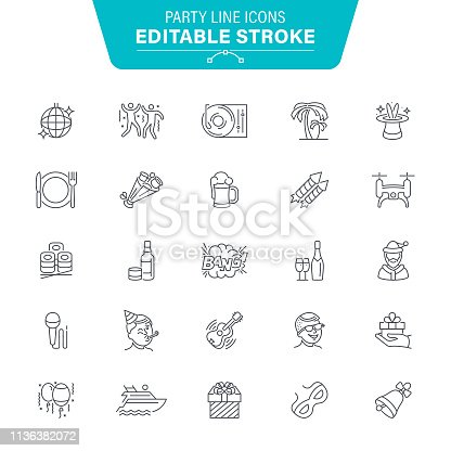 Nightclub, Anniversary, Arts Culture and Entertainment, Balloon, Icon, Party - Social Event, Editable Stroke Icon Set