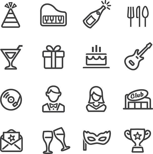 Fête et dîner icônes-Série ligne - Illustration vectorielle