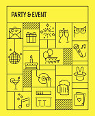 Party and Event Concept. Geometric Retro Style Banner and Poster Concept with Party and Event Line Icons
