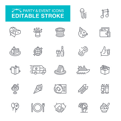 Party and Event Line Icons