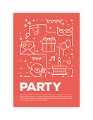 Party and Festive Concept Line Style Cover Design for Annual Report, Flyer, Brochure.