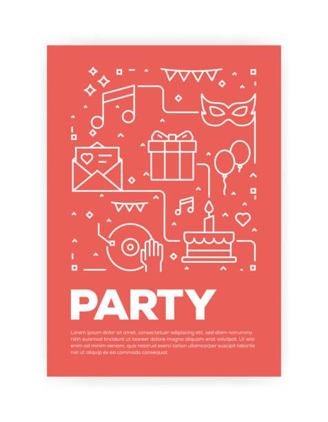 bildbanksillustrationer, clip art samt tecknat material och ikoner med part och festlig konceptet linjeformat omslagsdesign för årliga rapport, flyer, broschyr. - christmas gift family