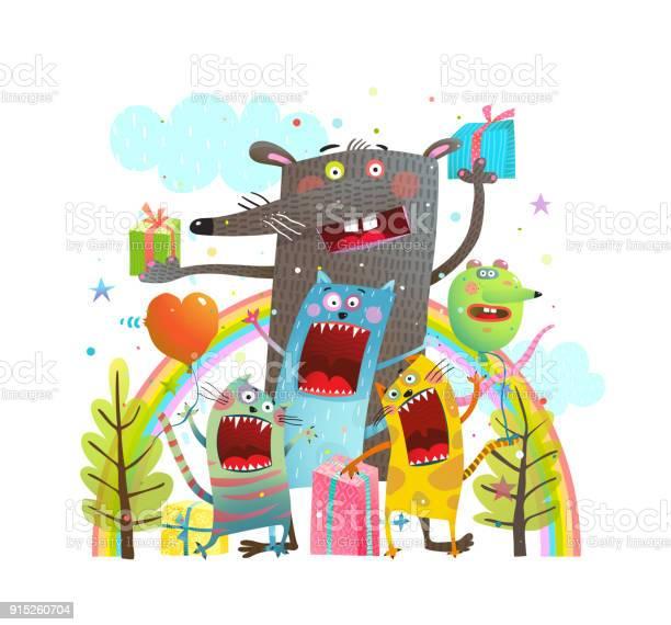 Party animals cats mouse rainbow vector id915260704?b=1&k=6&m=915260704&s=612x612&h=ynqsb950cfer6gxktfrum1h4stl7vrodaeeazkg4ag4=