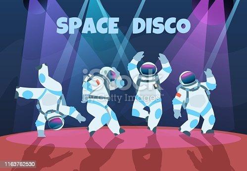 Party astronauts. Retro dancing spaceman, disco entertainment poster with pop art cosmonaut. Vector cartoon vintage banner