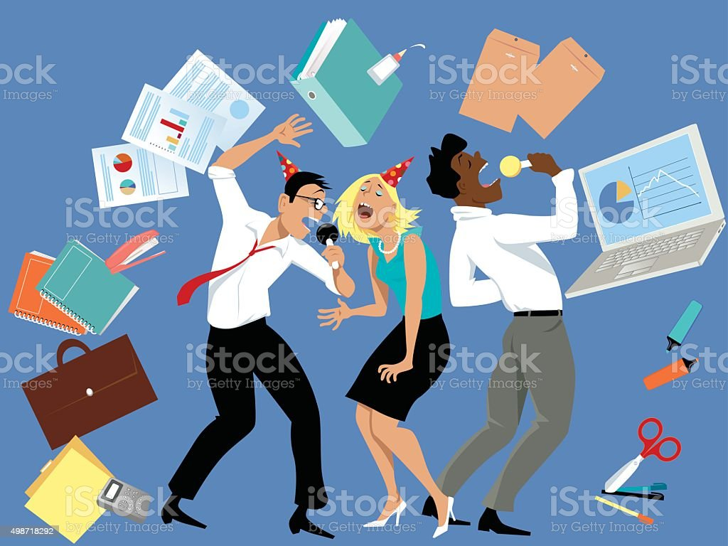 Party at the office vector art illustration