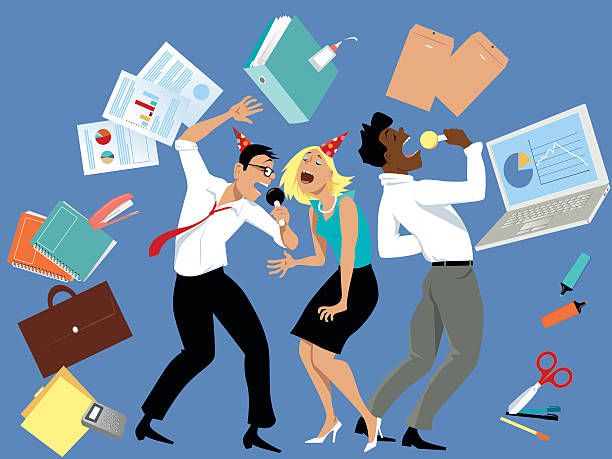 party at the office - office party stock illustrations, clip art, cartoons, & icons
