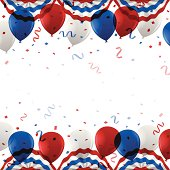 American culture USA patriotic balloon background with copy space. Top and bottom are separately grouped within a clipping mask for easy use.