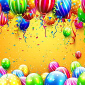 Party background with colorful balloons and confetti on orange background