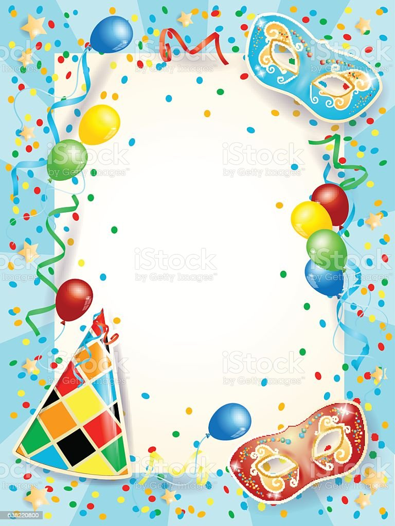 party background with carnival masks balloons and copy space