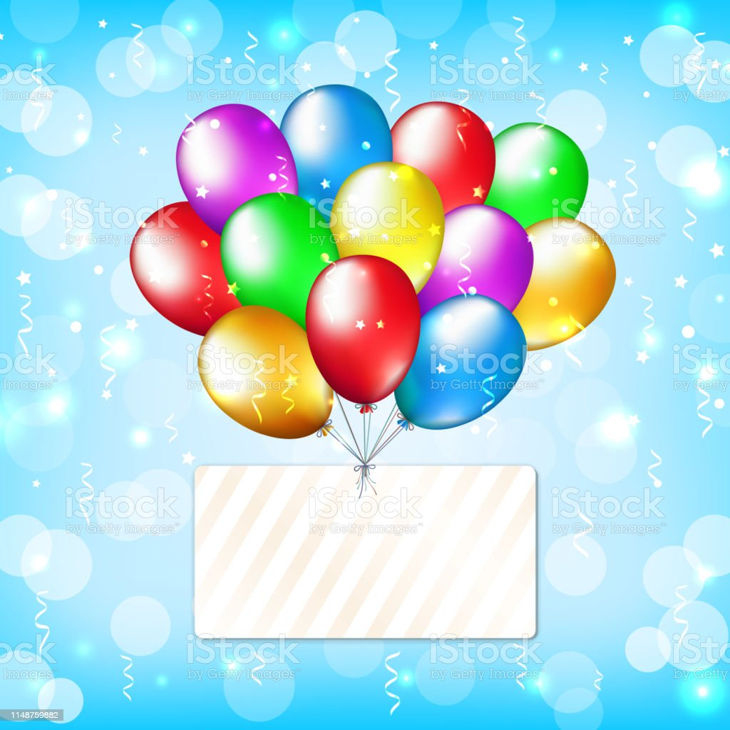 Party background with colorful balloons and label. Happy birthday...
