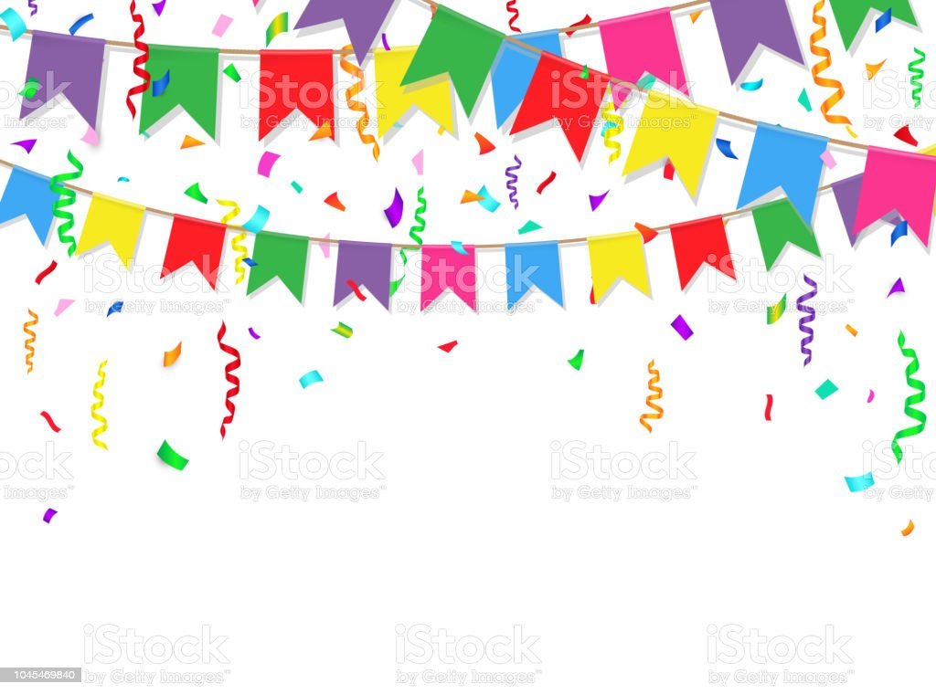 party background with colorful flags and confetti party flags on